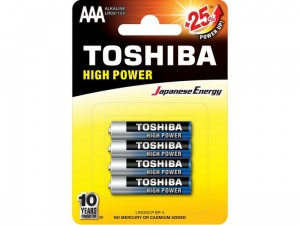 Baterie alkaliczne TOSHIBA AAA HIGH POWER  LR03GCNP-BP-4 blister 4szt.