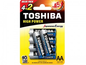 Baterie alkaliczne TOSHIBA AA HIGH POWER  LR6GCNP-BP-6-2F blister 2szt.